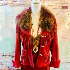 VINTAGE SUEDE FRINGE CUSTOM DYED JACKET FUR TRIM